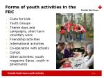 forms of youth activities in the frc