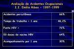 avalia o de acidentes ocupacionais i i em lio ribas 1997 19991