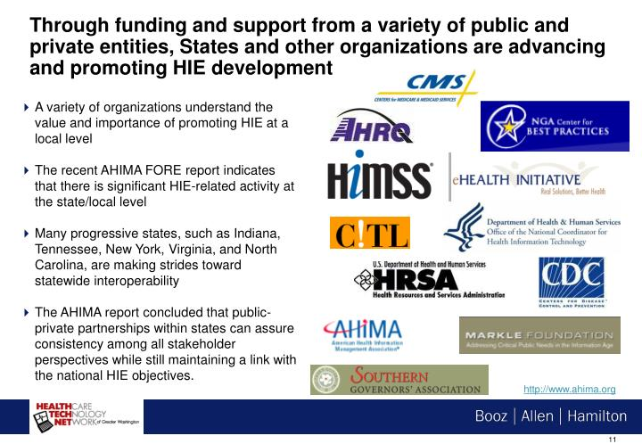 Through funding and support from a variety of public and private entities, States and other organizations are advancing and promoting HIE development