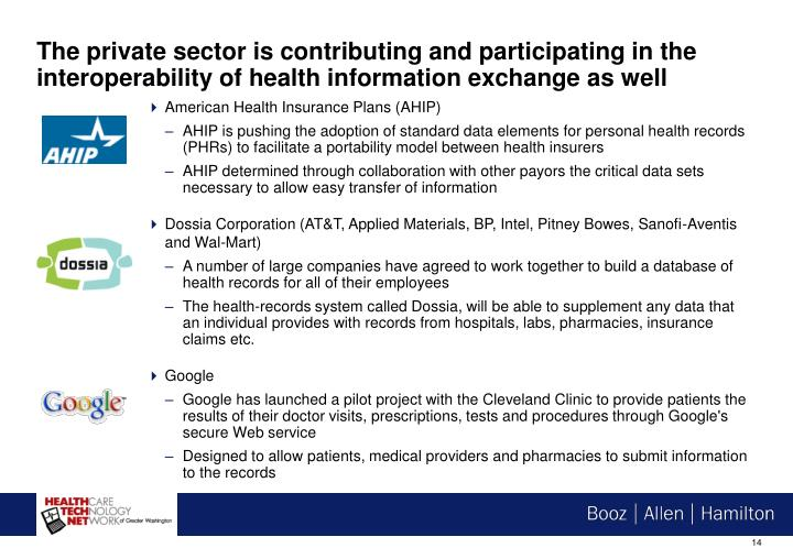 The private sector is contributing and participating in the interoperability of health information exchange as well