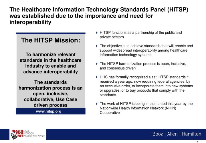 The Healthcare Information Technology Standards Panel (HITSP) was established due to the importance and need for interoperability