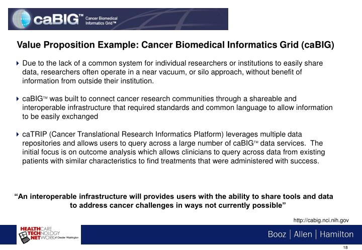 Value Proposition Example: Cancer Biomedical Informatics Grid (caBIG)
