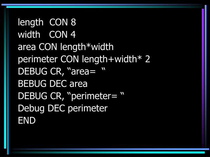 length  CON 8