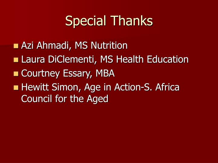 Special Thanks
