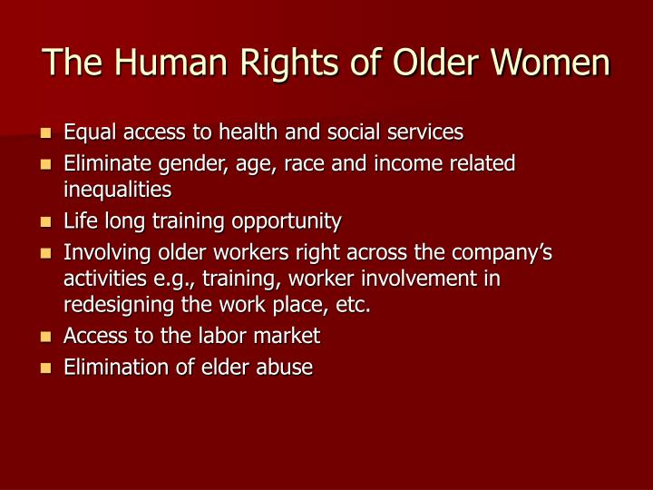 The Human Rights of Older Women