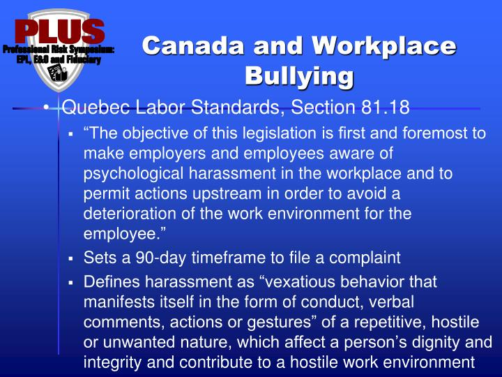 Canada and Workplace Bullying