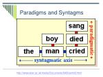 paradigms and syntagms