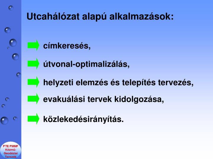 Utcahlzat alap alkalmazsok: