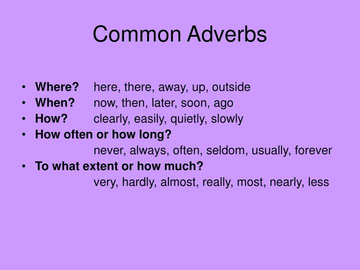 Common Adverbs