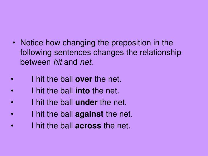Notice how changing the preposition in the following sentences changes the relationship between