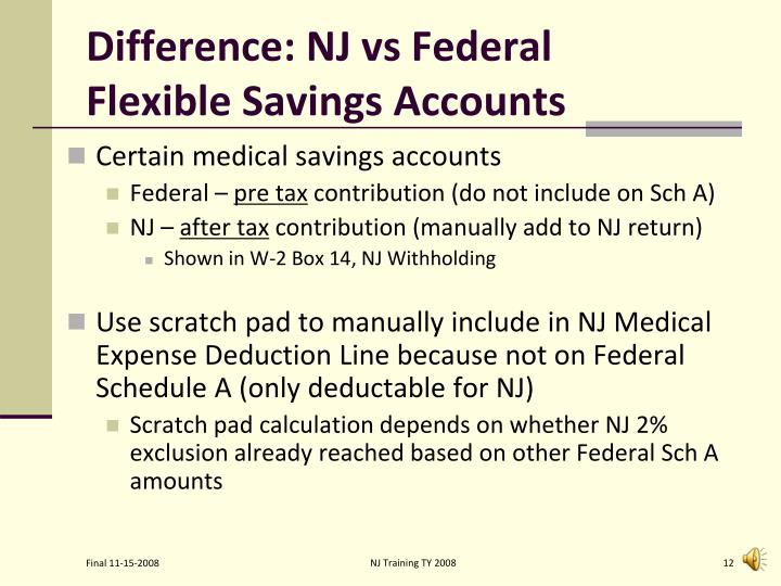 Difference: NJ vs Federal