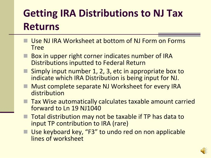 Getting IRA Distributions to NJ Tax Returns