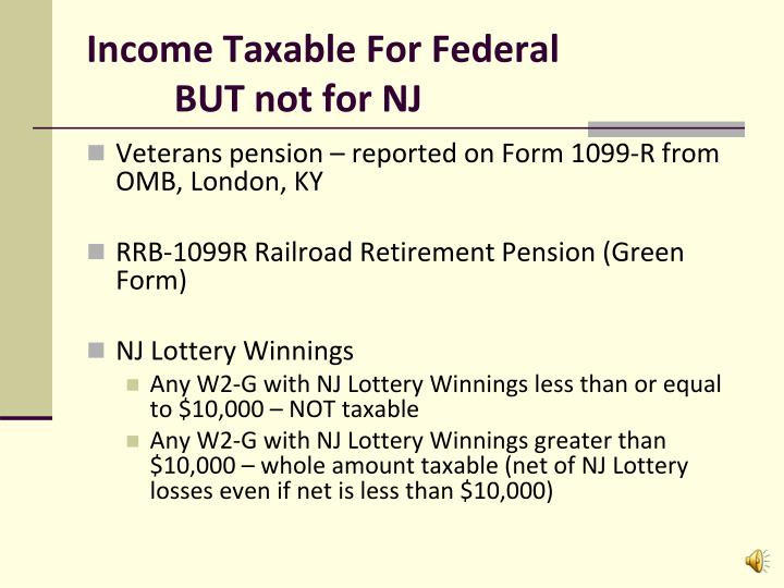 Income Taxable For Federal
