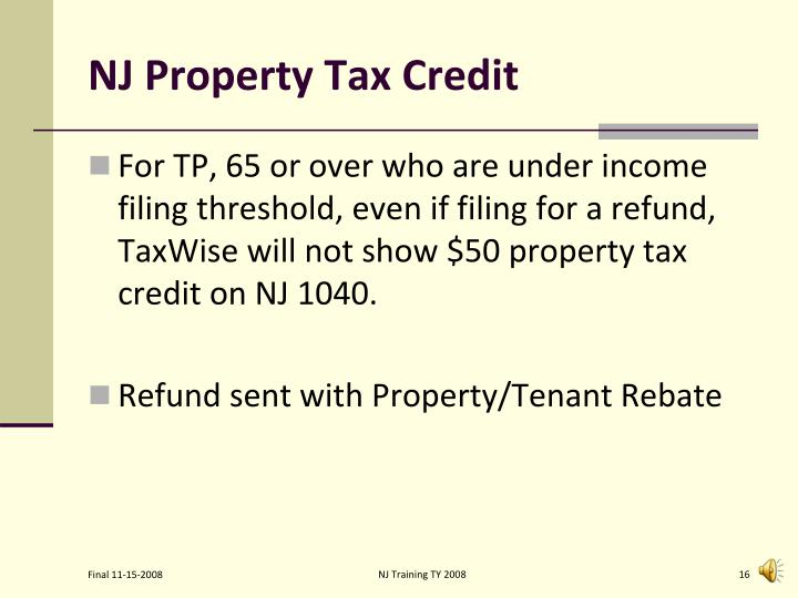 NJ Property Tax Credit