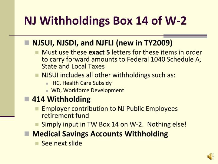 NJ Withholdings Box 14 of W-2