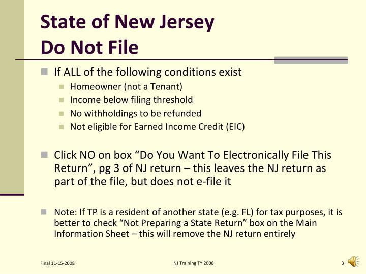 State of new jersey do not file