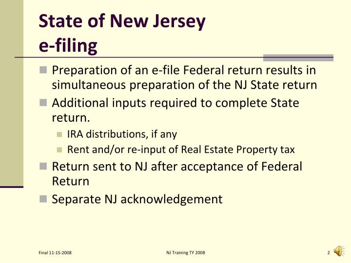State of new jersey e filing