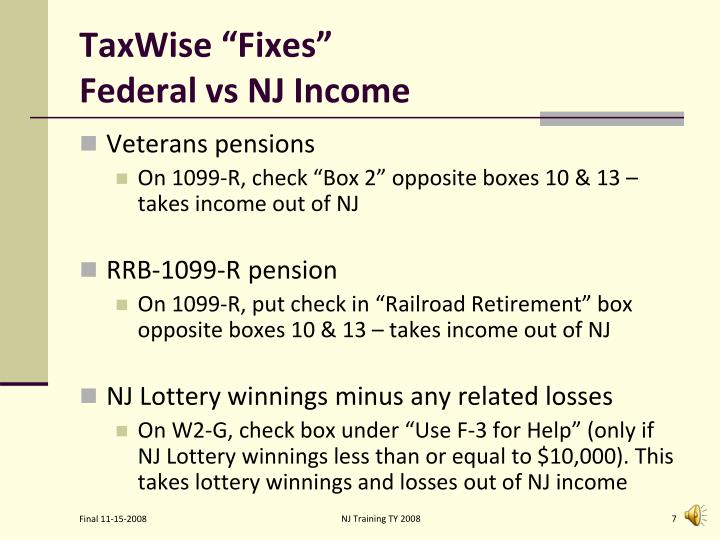 "TaxWise ""Fixes"""