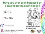 have you ever been harassed by a patient during examination