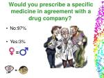would you prescribe a specific medicine in agreement with a drug company