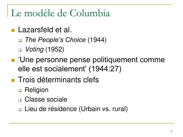 Le modèle de Columbia