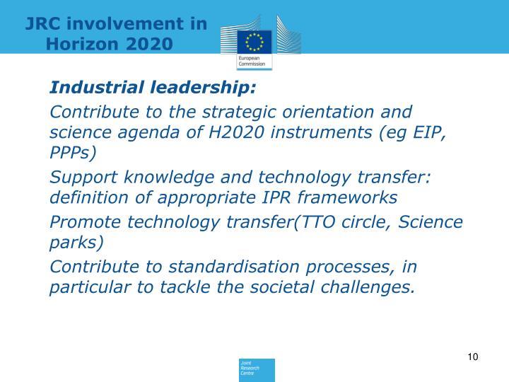 JRC involvement in Horizon 2020