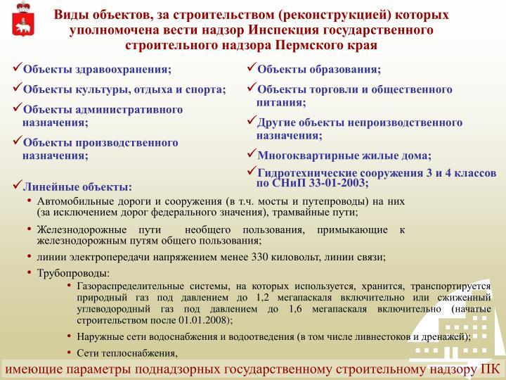 Виды объектов, за строительством (реконструкцией) которых уполномочена вести надзор Инспекция государственного строительного надзора Пермского края