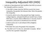 inequality adjusted hdi ihdi
