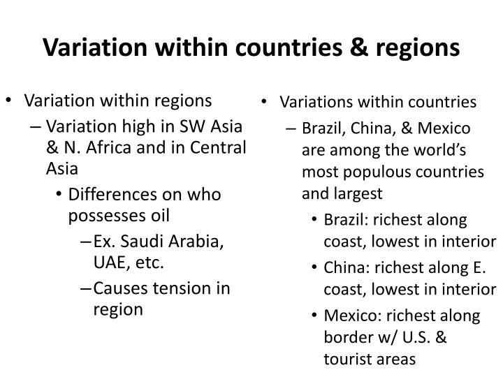 Variation within countries & regions