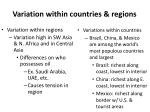 variation within countries regions