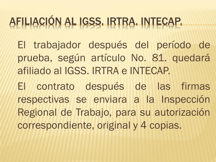 El trabajador después del período de prueba, según artículo No. 81. quedará afiliado al IGSS. IRTRA e INTECAP.