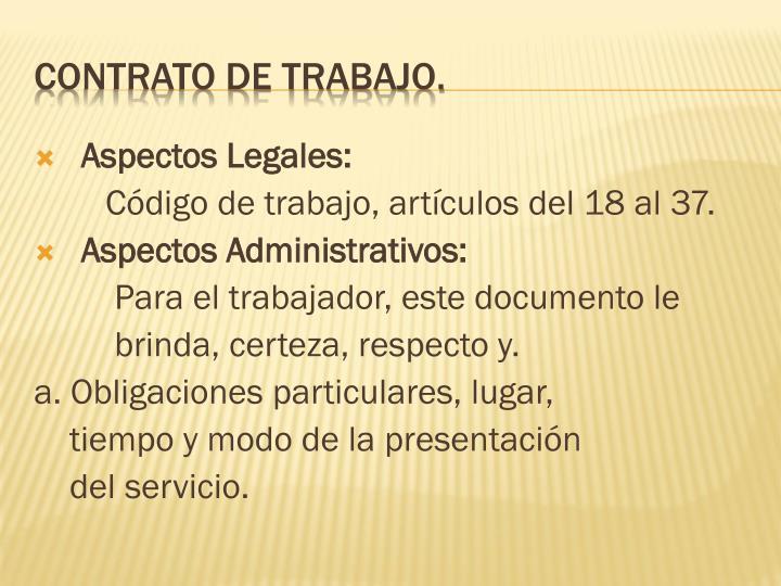 Aspectos Legales: