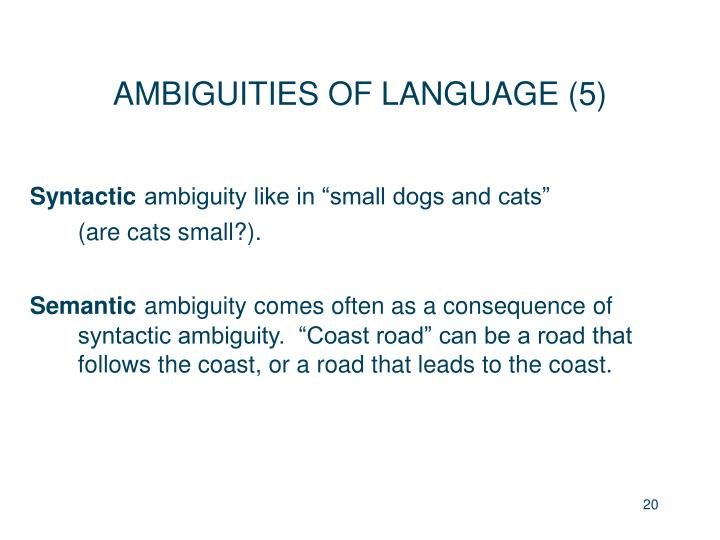 AMBIGUITIES OF LANGUAGE (5)