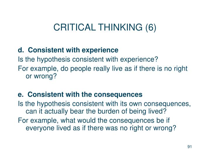 CRITICAL THINKING (6)