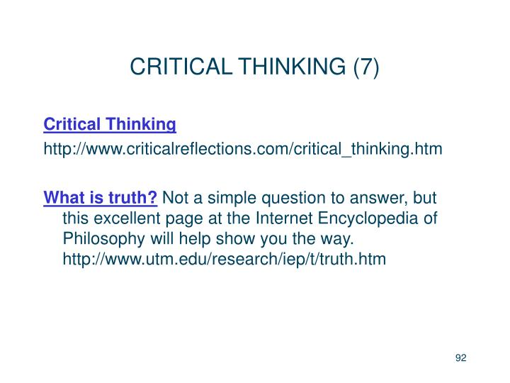 CRITICAL THINKING (7)