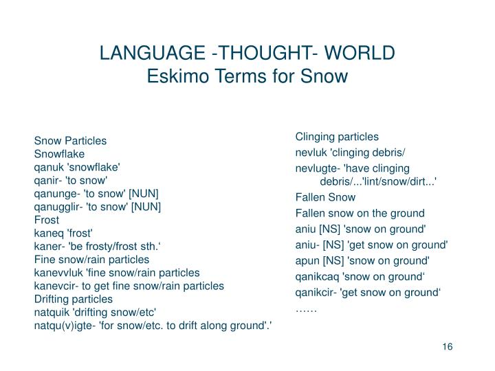 LANGUAGE -THOUGHT- WORLD