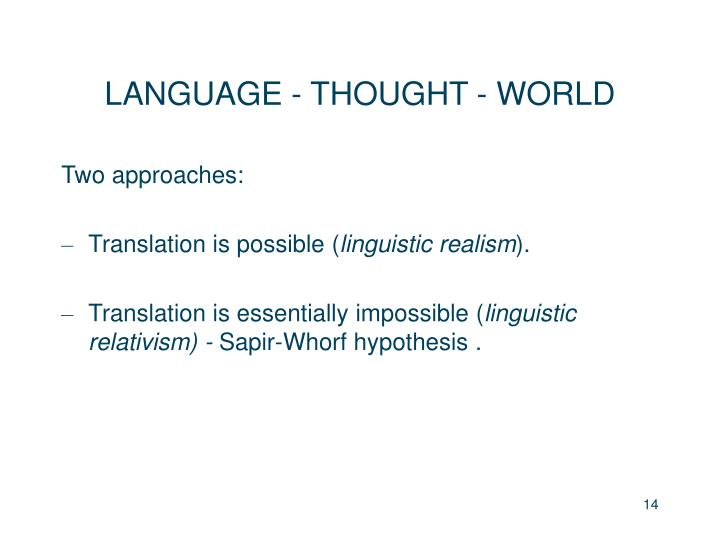 LANGUAGE - THOUGHT - WORLD