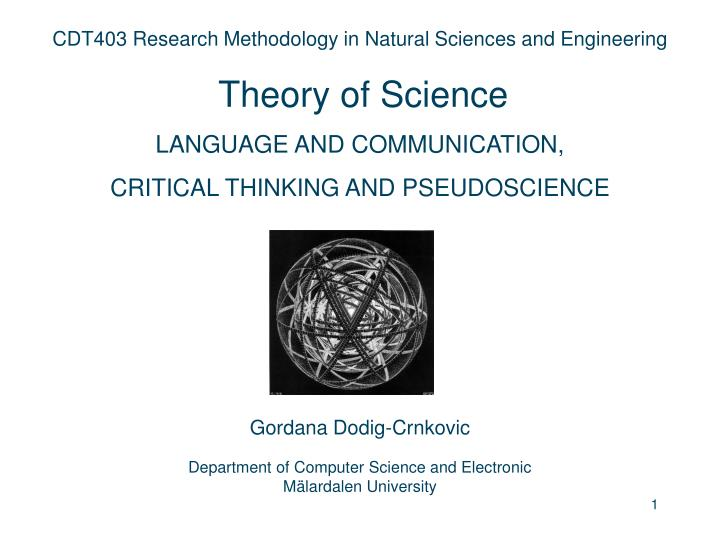 CDT403 Research Methodology in Natural Sciences and Engineering
