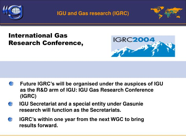IGU and Gas research (IGRC)