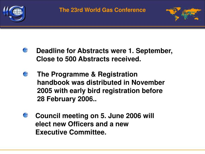 The 23rd World Gas Conference