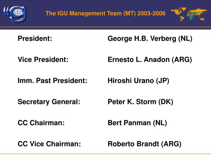 The IGU Management Team (MT) 2003-2006