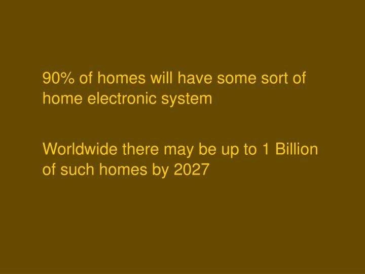 90% of homes will have some sort of home electronic system