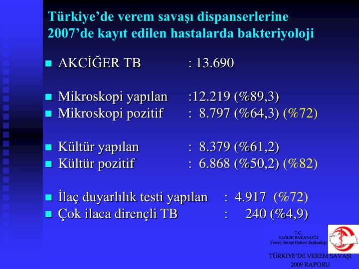 Türkiye'de verem savaşı dispanserlerine 2007'de kayıt edilen hastalarda bakteriyoloji