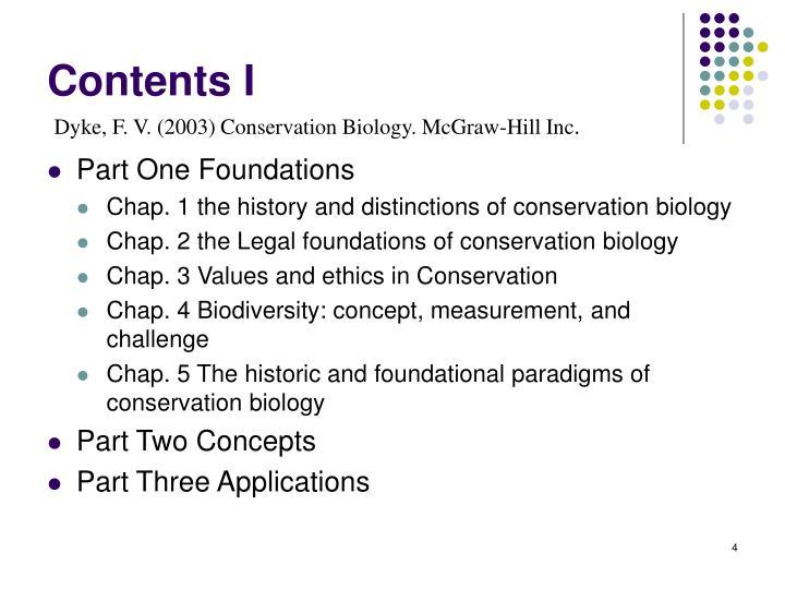 Contents I