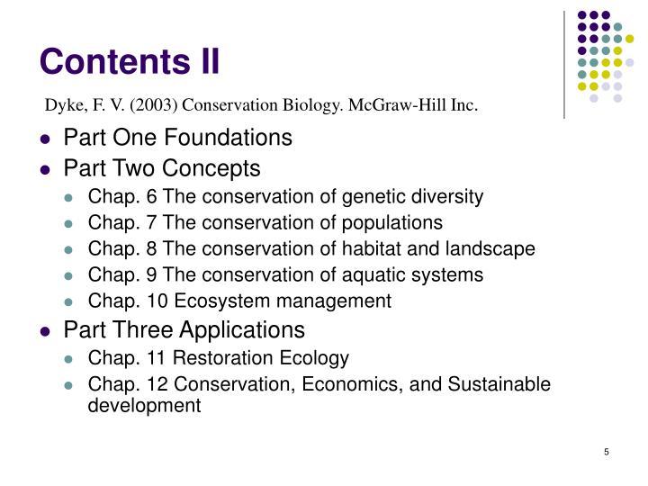 Contents II