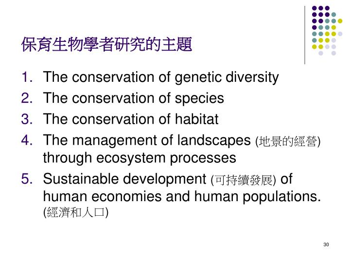 保育生物學者研究的主題