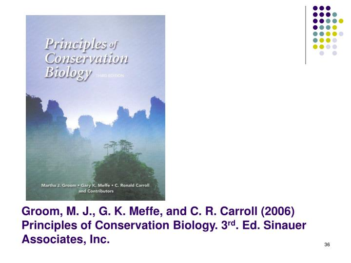 Groom, M. J., G. K. Meffe, and C. R. Carroll (2006) Principles of Conservation Biology. 3