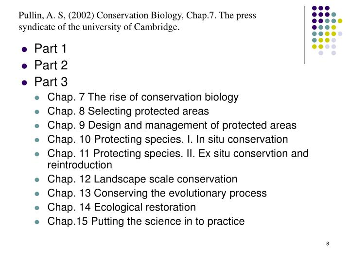 Pullin, A. S, (2002) Conservation Biology, Chap.7. The press syndicate of the university of Cambridge.