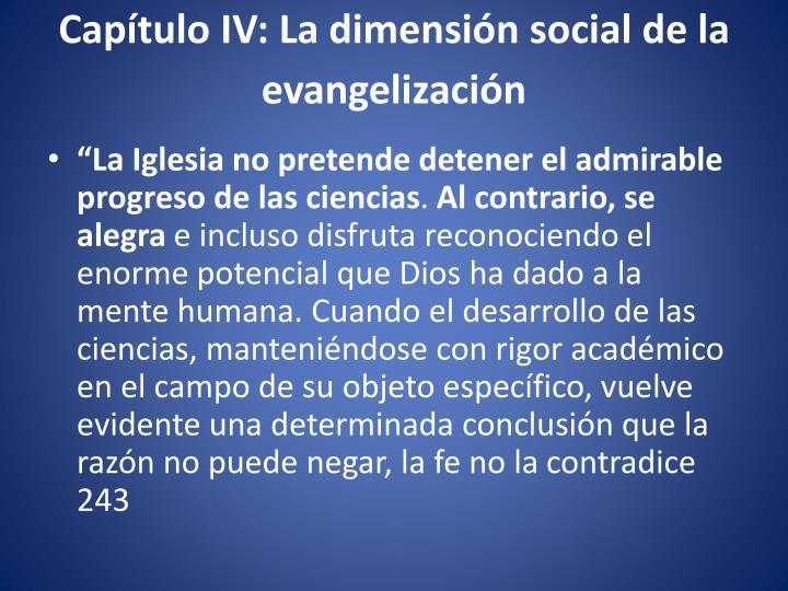 Capítulo IV: La dimensión social de la evangelización