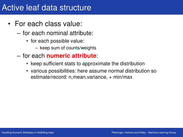 Active leaf data structure